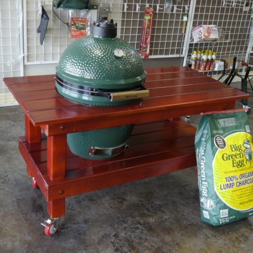 Big Green Egg Table Sealed in Beautiful Mahogany Finish
